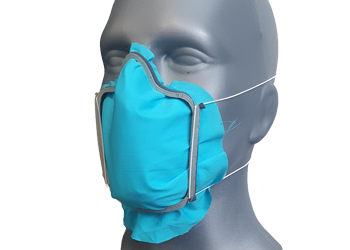 Flexible facemask holder with rubber foam to reduce airleakage